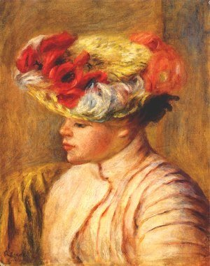 Pierre Auguste Renoir - Young woman in a flowered hat