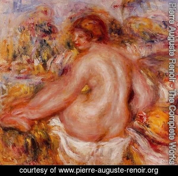 Pierre Auguste Renoir - After Bathing  Seated Female Nude