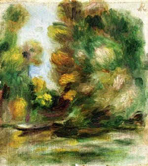 Pierre Auguste Renoir - Banks Of The River  A Boat
