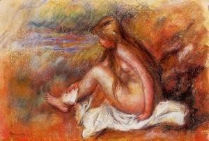 Pierre Auguste Renoir - Bather Seated By The Sea