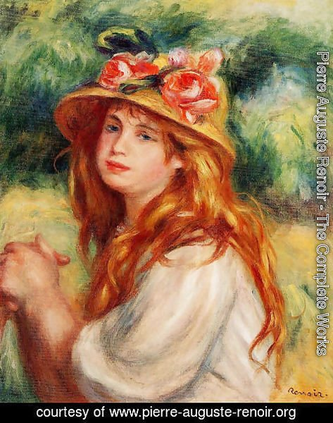 Pierre Auguste Renoir - Blond In A Straw Hat Aka Seated Girl