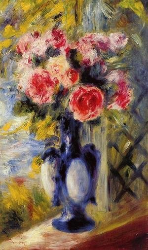 Pierre Auguste Renoir - Bouquet Of Roses In A Blue Vase