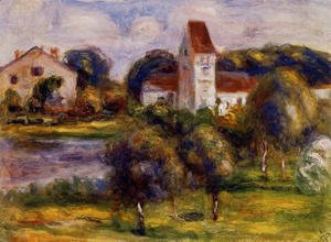 Pierre Auguste Renoir - Breton Landscape   Church And Orchard