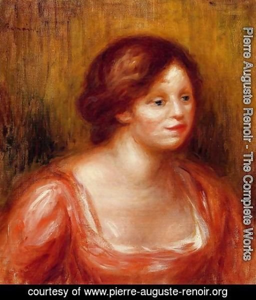 Pierre Auguste Renoir - Bust Of A Woman In A Red Blouse