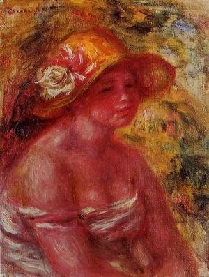 Pierre Auguste Renoir - Bust Of A Young Girl Wearing A Straw Hat