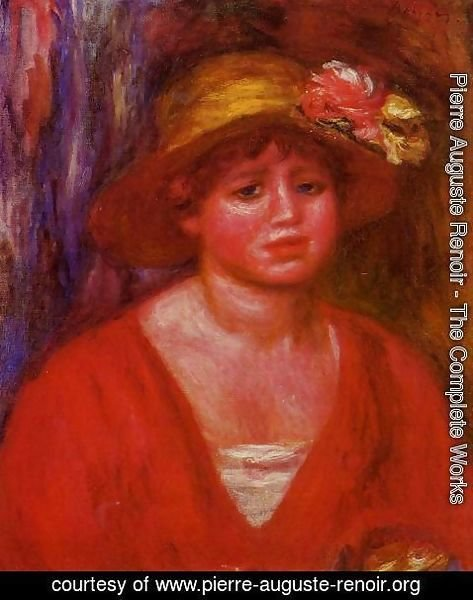 Pierre Auguste Renoir - Bust Of A Young Woman In A Red Blouse