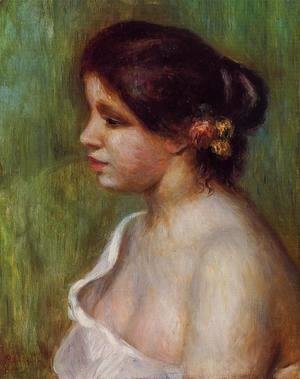 Pierre Auguste Renoir - Bust Of A Young Woman With Flowered Ear