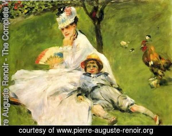 Pierre Auguste Renoir - Camille Monet And Her Son Jean In The Garden At Argenteuil
