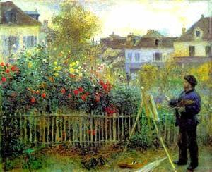 Pierre Auguste Renoir - Claude Monet Painting In His Garden At Argenteuil