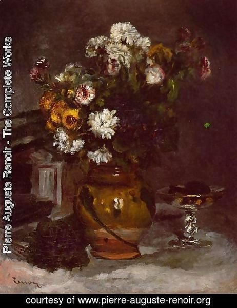 Pierre Auguste Renoir - Flowers In A Vase And A Glass Of Champagne