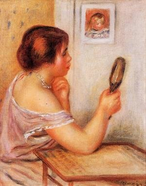 Pierre Auguste Renoir - Gabrielle Holding A Mirror With A Portrait Of Coco