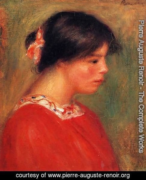 Pierre Auguste Renoir - Head Of A Woman In Red