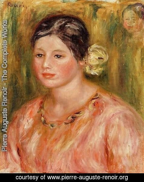 Pierre Auguste Renoir - Head Of A Young Girl In Red