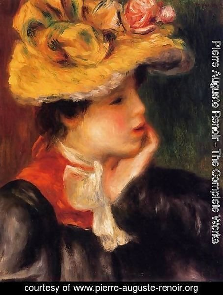 Pierre Auguste Renoir - Head Of A Young Woman Aka Yellow Hat