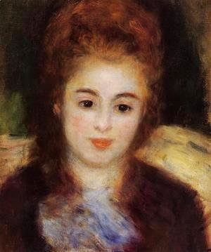 Pierre Auguste Renoir - Head Of A Young Woman Wearing A Blue Scarf Aka Madame Henriot