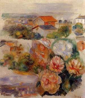 Pierre Auguste Renoir - Landscape  Flowers And Little Girl