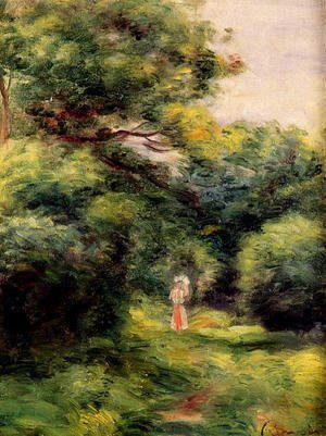Lane In The Woods  Woman With A Child In Her Arms