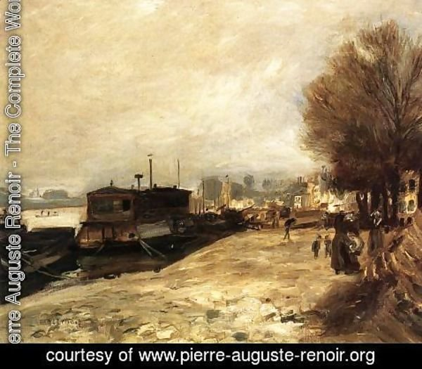 Pierre Auguste Renoir - Laundry Boat By The Banks Of The Seine  Near Paris