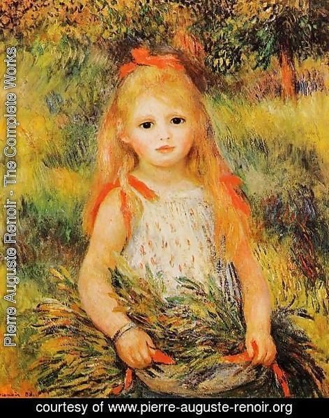 Pierre Auguste Renoir - Little Girl With A Spray Of Flowers