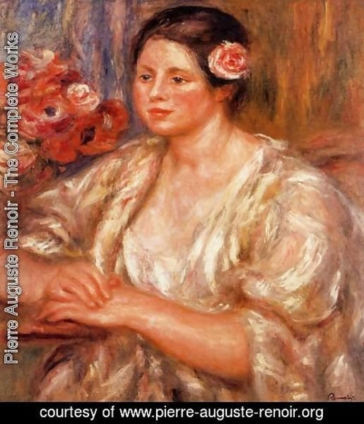 Pierre Auguste Renoir - Madelaine In A White Blouse And A Bouquet Of Flowers