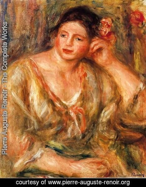 Pierre Auguste Renoir - Madeleine Leaning On Her Elbow With Flowers In Her Hair