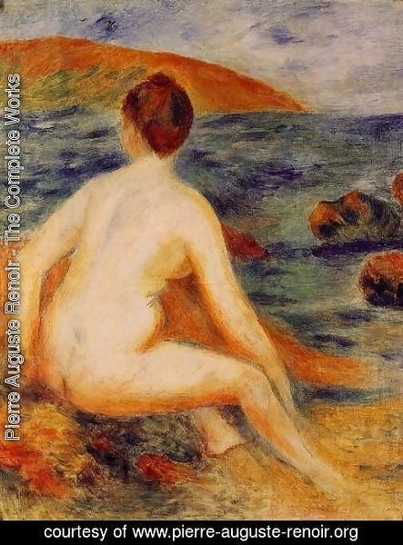 Pierre Auguste Renoir - Nude Bather Seated By The Sea