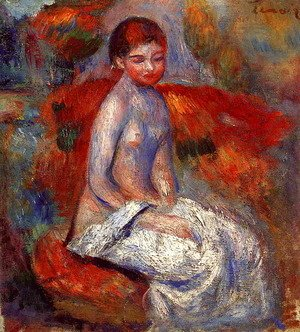 Pierre Auguste Renoir - Nude Seated In A Landscape