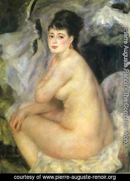 Pierre Auguste Renoir - Nude Seated On A Sofa