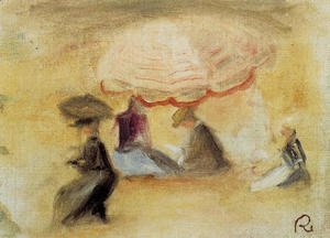 Pierre Auguste Renoir - On The Beach  Figures Under A Parasol