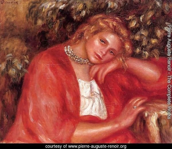 Pensive Young Woman Leaning On Her Elbow