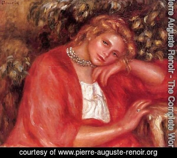 Pierre Auguste Renoir - Pensive Young Woman Leaning On Her Elbow