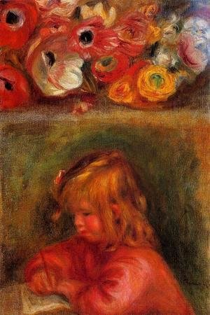 Pierre Auguste Renoir - Portrait Of Coco And Flowers