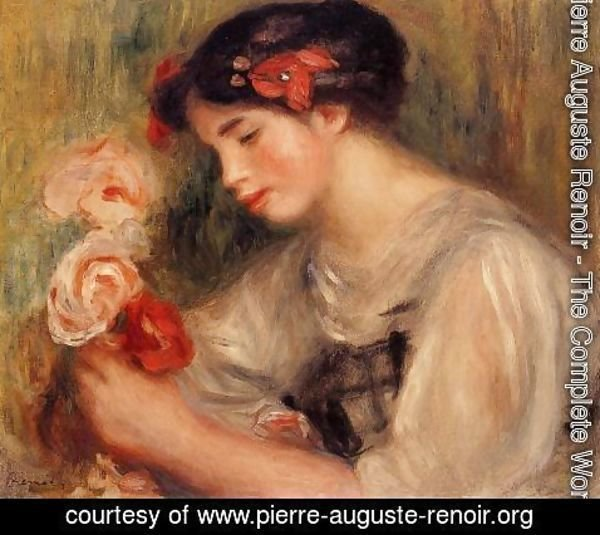 Pierre Auguste Renoir - Portrait Of Gabrielle Aka Young Girl With Flowers