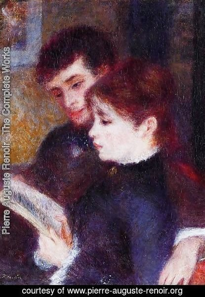 Pierre Auguste Renoir - Reading Couple Aka Edmond Renoir And Marguerite Legrand