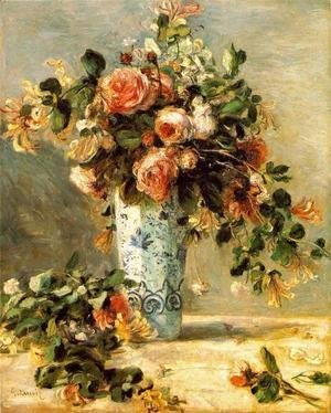 Pierre Auguste Renoir - Roses And Jasmine In A Delft Vase