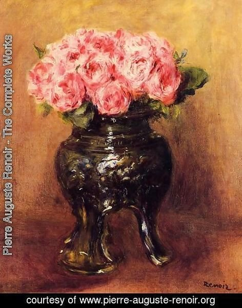 Pierre Auguste Renoir - Roses In A China Vase