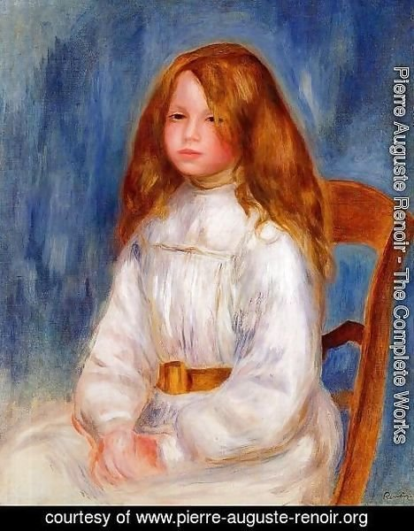 Pierre Auguste Renoir - Seated Girl With Blue Background
