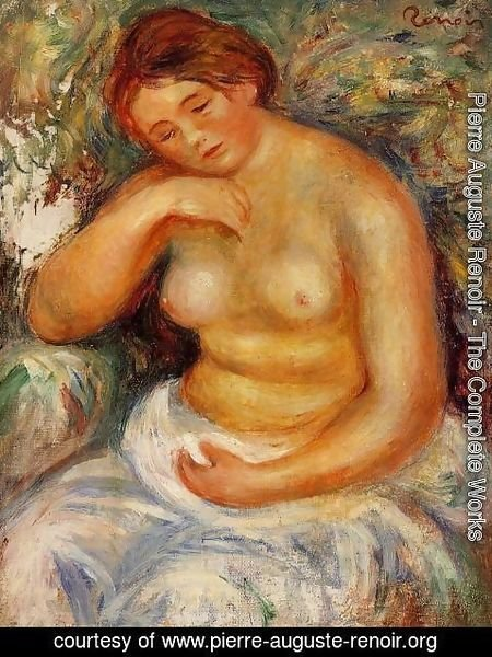 Pierre Auguste Renoir - Seated Nude With A Bouquet