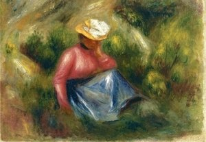 Pierre Auguste Renoir - Seated Young Girl With Hat
