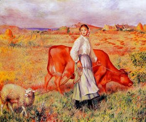Pierre Auguste Renoir - Shepherdess  Cow And Ewe