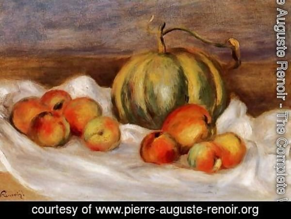 Pierre Auguste Renoir - Still Life With Cantalope And Peaches