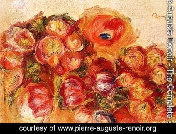 Pierre Auguste Renoir - Study Of Flowers   Anemones And Tulips