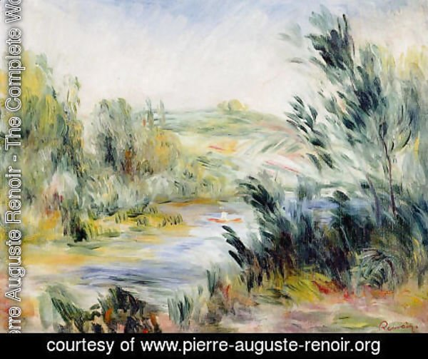 Pierre Auguste Renoir - The Banks Of A River  Rower In A Boat