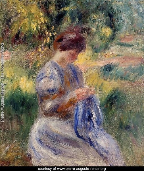 The Embroiderer Aka Woman Embroidering In A Garden