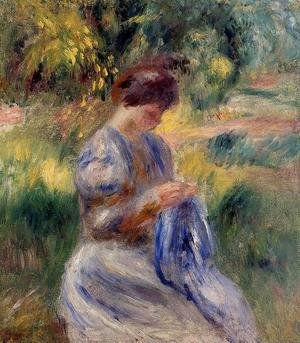 Pierre Auguste Renoir - The Embroiderer Aka Woman Embroidering In A Garden