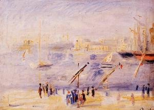 Pierre Auguste Renoir - The Old Port Of Marseille  People And Boats