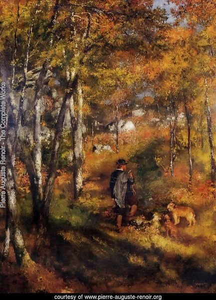 The Painter Jules Le Coeur Walking His Dogs In The Forest Of Fontainebleau
