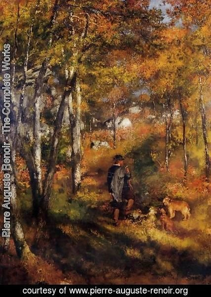 Pierre Auguste Renoir - The Painter Jules Le Coeur Walking His Dogs In The Forest Of Fontainebleau