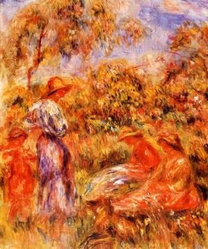 Pierre Auguste Renoir - Three Women And Child In A Landscape