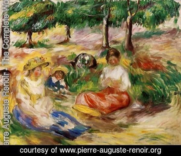 Pierre Auguste Renoir - Three Young Girls Sitting In The Grass